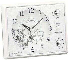 セイコー クロック 目覚まし時計 ミッキーマウス ミニーマウス アナログ マルチサウンドアラーム Disney Time ディズニータイム 白 パール FD478W SEIKO[un]