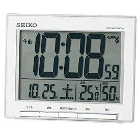 セイコー クロック 目覚まし時計 電波 デジタル カレンダー 温度 湿度 表示 大型画面 銀色 メタリック SQ786S SEIKO[un]