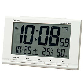 セイコークロック 置き時計 白 本体サイズ:9.1×14.8×4.7cm 目覚まし時計 電波 デジタル カレンダー 温度 湿度 表示 SQ789W[un]