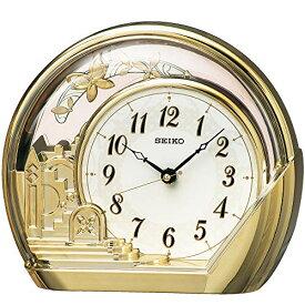 セイコークロック 置き時計 金色光沢 本体サイズ:18.4×21.2×7.5cm アナログ 飾り振り子 PW428G[un]