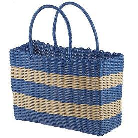 パール金属 ピクニックバスケット ブルー×ナチュラル 幅45×奥行21×高さ32cm ポリエチレントートバッグ ピクジェネ D-6367[un]