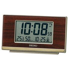 セイコークロック 置き時計 05:木目模様 本体サイズ:7.8×13.5×3.8cm 目覚まし時計 電波 デジタル ステップダウンスヌーズ SQ793B[un]