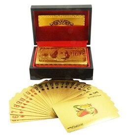 【ブラック・ウッドケース】純金風 ゴールド トランプ カード プラスチック 製 ポーカー[cb]