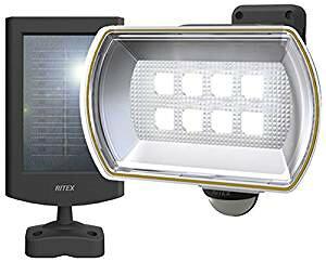 ムサシ RITEX フリーアーム式LEDセンサーライト(8Wワイド) 「ソーラー式」 防雨型 S-80L[cb]