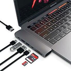 Satechi Type-C アルミニウム Proハブ Macbook Pro 13/15インチ対応 40Gbs Thunderbolt 3 4K HDMI Micro/SDカード USB 3.0ポート×2 マルチ USB ハブ (スペースグレイ)[cb]