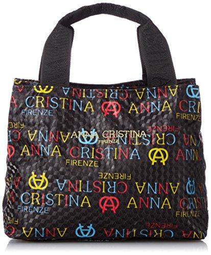 [アンナクリスティーナ] ANNA CRISTINA ロゴ柄サイドポケット手提げバッグ 4749-04 クロ (ブラックB)
