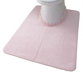 サンコー ズレないトイレマット 吸着ロングふんわり おくだけ吸着 洗える 70×100cm ピンク KN-65