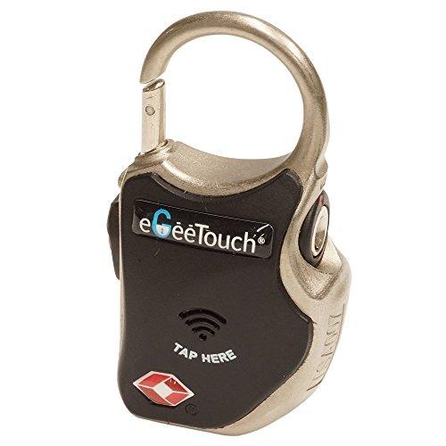 eGeeTouchR タッチキー式南京錠 スマートトラベルパドロック (eGeeTouch Smart Padlock ) スパイラルワイヤー同梱特別バッケージ ブラック GT1000