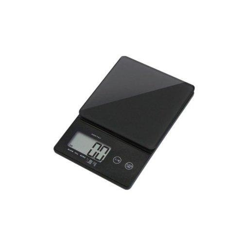 ドリテック(dretec) デジタルスケール 「ストリーム」 2kg 【ガラス製計量皿/薄型/表示単位 0.1g】 ブラック KS-245BK