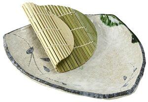 萬古焼 麺の器 三角麺皿 (すのこ付) つた織部 11996