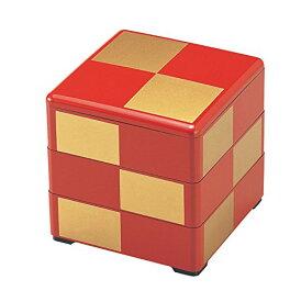 若泉漆器 3段重箱 5.5寸重 朱 金市松 (内黒) 1-459-23