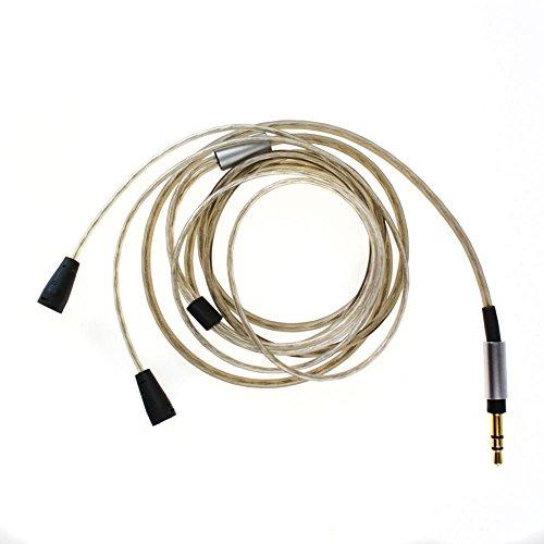 Codio イヤホン用ケーブル 低音域アップ 交換用イヤホンケーブル ストレートプラグ 銀メッキ 着脱式ケーブル グレー MS003