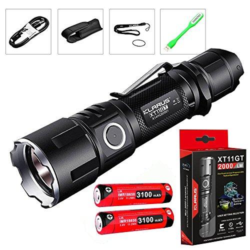 KLARUS クラルス XT11GT CREE XHP35 HD E4 LED搭載 / 明るさ:2000ルーメン 充電式懐中電灯 強力フラッシュライト 18650 (3100mAh)電池×2本/USB充電ケーブル/ホルスター/USBライト付き (XT11GT(3100mAh電池×2本))