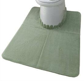 サンコー ズレないトイレマット 吸着ロングふんわり おくだけ吸着 洗える 70×100cm グリーン KN-66