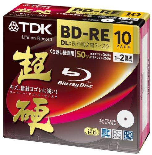 TDK 録画用ブルーレイディスク 超硬シリーズ BD-RE DL 50GB 1-2倍速 ホワイトワイドプリンタブル 10枚パック 5mmスリムケース BEV50HCPWA10A
