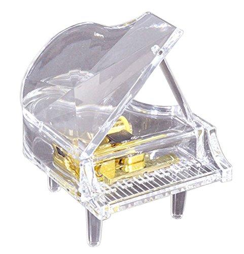 [LED付き アクリルオルゴール] ピアノ クリア (♪カノンB) G-6304NA