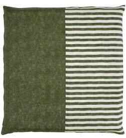 メリーナイト(Merry Night) 日本製 綿100% 座布団カバー 「無地縞」 銘仙判 55×59cm グリーン Z701-53