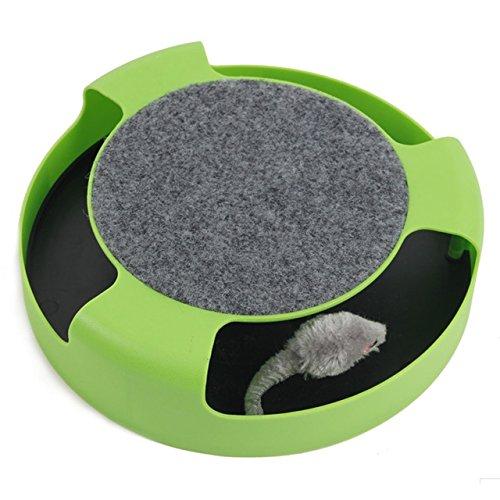 【猫 のための おもちゃ】 猫夢ちゅ〜 ねずみ を追いかける ストレス発散 運動不足 解消 ペット用品 (グリーン)
