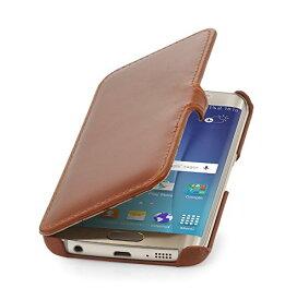 StilGut 本革 手帳型 Samsung Galaxy S6 edge レザーケース クリップ付 コニャックブラウン