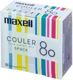 maxell 音楽用 MD 80分ストライプデザイン 「クーレ」シリーズ カラーMIX 5枚 CUMD80MIXB.5P