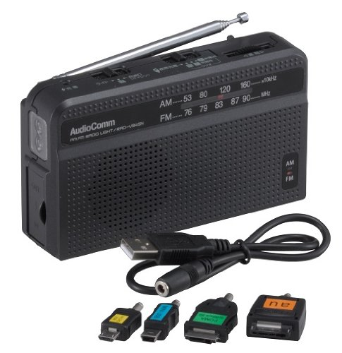 オーム AM/FM 手回しラジオライトAudioComm RAD-V945N
