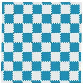 MAMENCHI フロアマット つなげてカラフル ブルーベージュ 全長約229.5×229.5(cm) 正方形マット64枚(8×8) エッジマット短28枚 エッジマット長4枚 M-0127