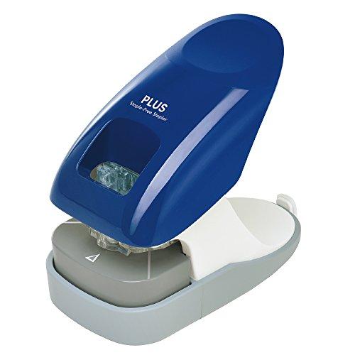 プラス 針なしホッチキス ペーパークリンチ 卓上型 12枚綴じ ブルー 31-210
