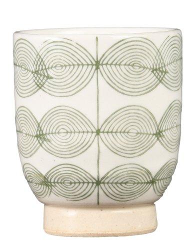 西海陶器 粉引葉紋 湯呑(緑) 11621