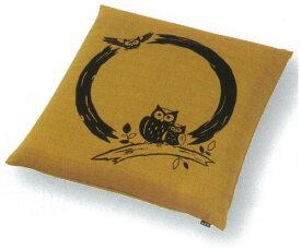 TMK(ティーエムケイ) 民芸 座布団カバー 銘仙判(55×59cm) ふくろう 金茶色 EEE6062-YT