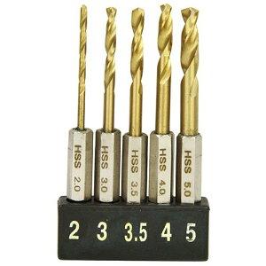 E-Value 六角軸 鉄工用ドリルセット ショート チタンコーティング 5本組 ESTDT-5HEX