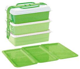サンコープラスチック ピクニックランチボックス ファミリーパック 3段 取り皿3枚付き グリーン