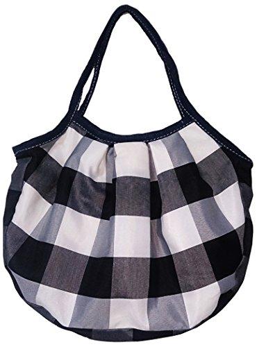 (シシ)sisi バリ島発オリジナルバッグ シリーズ グラニーバッグ トートバッグ (チェック柄 グラニーバッグ 黒)