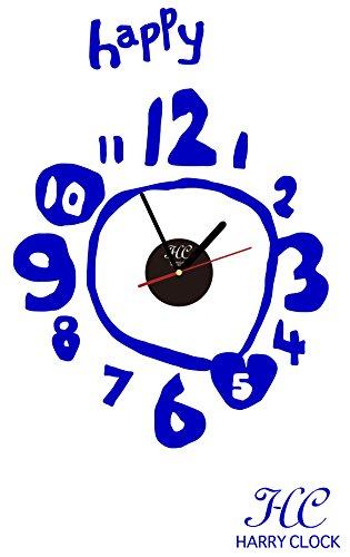 HARRY CLOCK ウォールステッカー 時計付き 貼ってはがせる 転写式 手書き数字のハッピークロック handwritten happy clock ネイビーブルー 約45×45cm