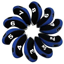 Andux ゴルフ クラブ アイアンカバー ヘッドカバー 10個セット ブルー/ブラック MT/S07