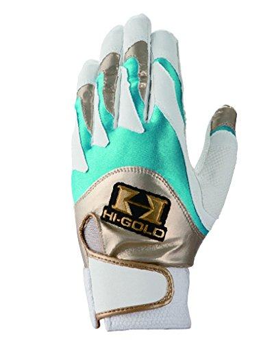 HI-GOLD(ハイゴールド) バッティング手袋 シングルバンド 両手用 SH-100 ホワイト×サックス×ゴールド L(25・26)