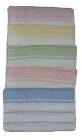 おぼろタオル 浴用タオル5色(ピンク、ブルー、イエロー、グリーン、パープル)各1枚 計5枚組セット