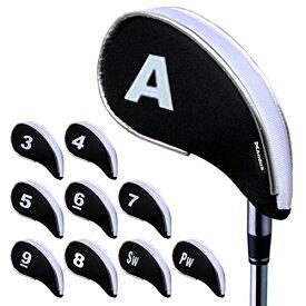 Andux 新しいデザイン ゴルフ アイアン ヘッドカバー ファスナー付き 10個/セット ホワイト/ブラック