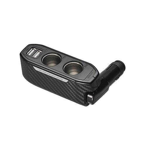 カーメイト 車用 ソケット 2連ダイレクト 2口USB 2.4A カーボン調 DZ270