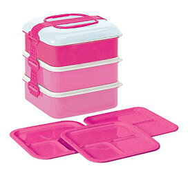 サンコープラスチック 弁当箱 ファミリーサイズ リオパック 3段 取り皿3枚付き ピンク 117526