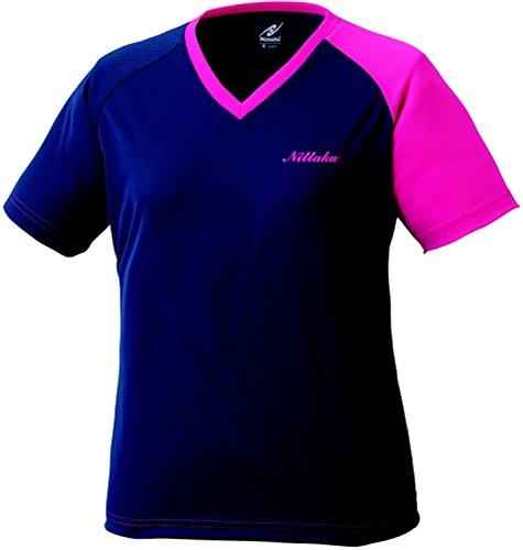 ニッタク(Nittaku) レディース 卓球 VNT Tシャツ NX2079 ネイビー×ピンク(02) XO