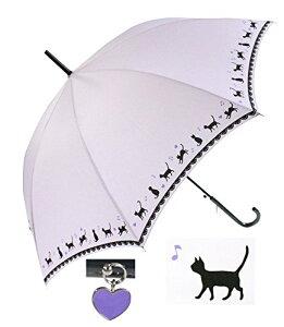 黒ネコ裾柄 かわいい 60cm ジャンプ傘 (パープル)