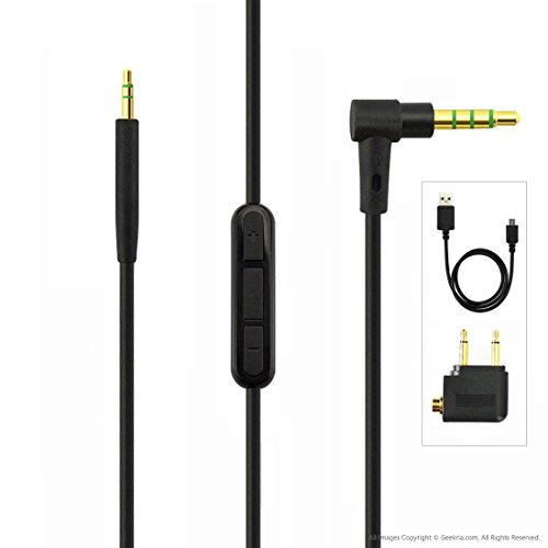 ヘッドフォンケーブルBose QuietComfort QC35 等対応交換用ケーブル コード (Apple Android Windows Phone製品 リモコン・マイク付)