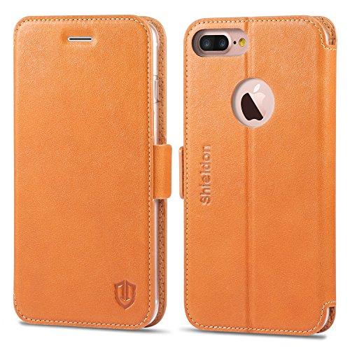 iPhone7 Plus ケース 手帳型 SHIELDON アイフォン7プラス ケース 手帳型 本革 カード入れ スタンド機能 デュアルマグネット留め具付き レトロブラウン