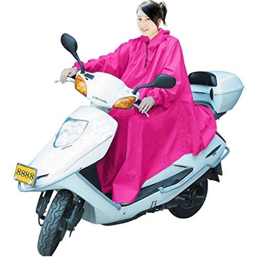 男女兼用 バイク 自転車 スクーター 用 レインコート ポンチョ 防水 フリーサイズ 雨具 雨合羽 カッパ 屋外作業 アウトドア (ピンク)