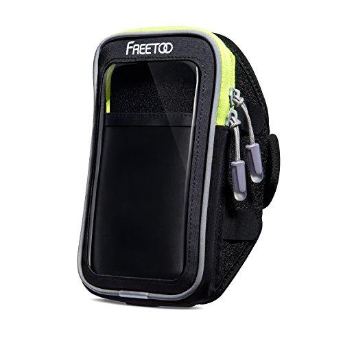FREETOO スポーツアームバンド ランニングアームバンドケース 防汗 柔軟超薄型クリアスクリーン イヤホーンコード固定 カード入れ付 調節可能 iPhone6/6S/7/7 Plus、Xperiaなどに対応
