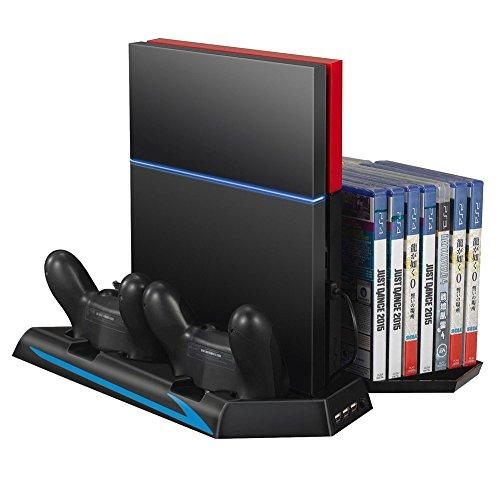 Mondpalast 3in1 デュアル コントローラー縦置きスタンド充電ドック 冷却台付 ゲームソフト 14枚収納ホルダ Sony PlayStation 4 ソニープレイステーション 4 PS4対応