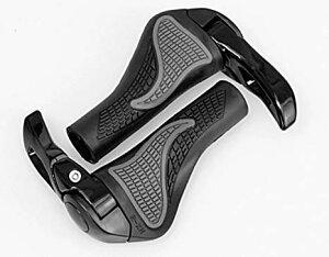人間工学に基づいたデザイン 自転車 MTB グリップ ハンドルグリップ グリップエンド 手のひらの負担を軽減させる幅広グリップ 角度調整可能なロングホーンタイプ[un]