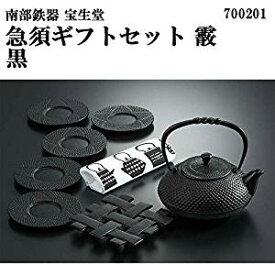 南部鉄器 宝生堂 急須ギフトセット 霰 黒 700201[un]