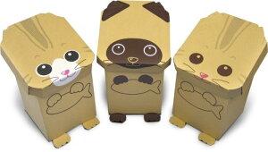 森井紙器 段ボール工作シリーズ 動物型おもちゃボックス はこねこ 3匹セット