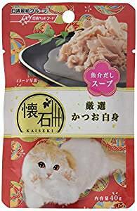 懐石 キャットフード レトルト 厳選かつお白身 魚介だしスープ 40g×12個 (まとめ買い)[un]